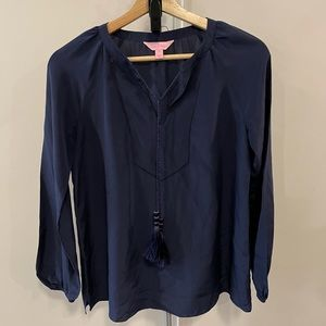 Lilly Pulitzer 100% Silk Tie Neck Navy Blouse